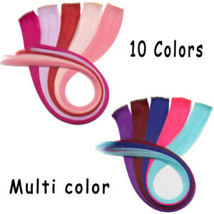 100% Real Multi Color Long as human Synthetic Clip in on Hair Extension 10Pieces