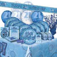 AGE 21/21ST BIRTHDAY BLUE GLITZ PARTY RANGE (Balloon/Decoration/Banner/Napkins)