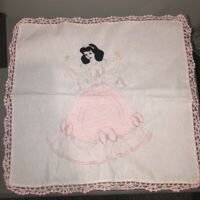 """Vintage Hand Embroidered Doily Snow White in Pink Dress 18"""" Sq Crocheted Hems"""
