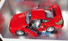 ✅ 1:18 EXOTO PORSCHE 959 RED + FREE RARE PORSCHE 911 TURBO BOOK 140 PAGES