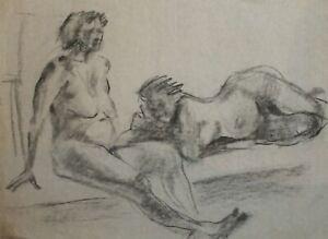Vintage pencil painting expressionist nude females portrait