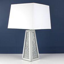 Crushed Diamond con Specchio Lampada da tavolo con paralume bianco, Lampada da tavolo in cristallo Bling