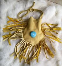 Native American Medicine Bag Leather Pouch Turquoise Hand Carved Cherokee Sage