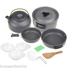 Outdoor Camping Pot Cookout Picnic Cookware Teapot Coffee Kettle Set F1J1