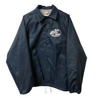 Vintage Bass Pro Shops Navy Nylon Jacket Cotton Lined WindBreaker Mens Large
