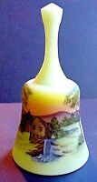 Fenton Glass Old Mill On Custard Bell Hand Painted By Gloria Finn