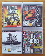 lot ps3 / guitar hero warrior of rock + world tour + dj hero 1 et 2 / complets