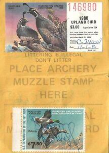 1980 USA Canard Tampon #RW47 + Upland Washington Chasse & Pêcher Licence