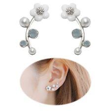 2pcs Flower Earrings Ear Cuff Climber Pearl Vine Wrap Stud Pair Boho Jewelry