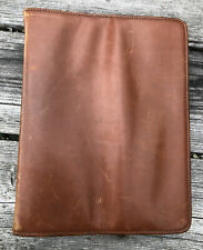 Vintage Genuine Brown Cow Leather Zip Close 3 Ring Planner Organizer Binder