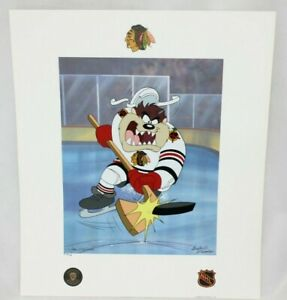 Toon Art Chicago Blackhawks Warner Bros Taz NHL Hockey Slapshot Litho Pub Proof