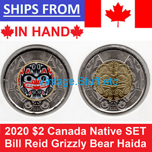 2020 BILL REID Toonie $2 Color + NO Color Canada Coin Haida Grizzly Bear SET UNC