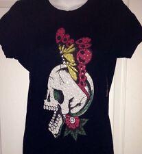 Black Skull Butterfly Ed Hardy Tunic Short  Dress Coverup Medium