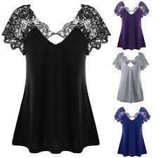 Fashion Women V-Neck Plus Size Lace Short Sleeve Trim Cutwork T-Shirt Tops