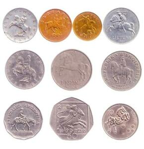 5 MIXED COINS WITH HORSES, CAVALRY, HORSEMANS, PONIES, MUSTANGS, MULES, RIDERS