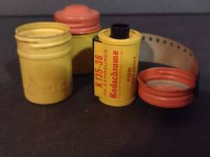 VINTAGE KODAK FILM CANISTER Container - Yellow / orange. 1 roll of film