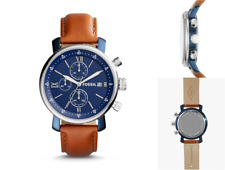 Reloj de Pulsera Fossil Para Hombre Cuero Marrón Cronógrafo Rhett Azul Plata Nuevo Y En Caja RP £ 145