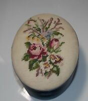 Vintage Hand Made Petit Point Floral Bouquet Blue Satin Oval Trinket Box Fetco