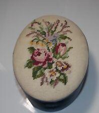 Vintage Hand Made Petit Point Floral Bouquet Blue Satin Oval Trinket Box Fetco