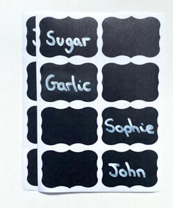 Black Chalk Jar Labels x16 Small Stickers Kitchen Jam Reusable Coffee Tea Decals