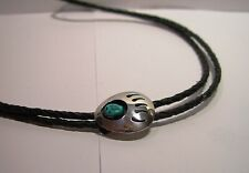 """Sterling Silver .925 Turquoise Bolo Tie Braided Leather Navajo Bear Clan 2"""" Tips"""
