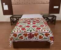 Vintage Suzani Bedspread Boho Embroidered Wall Hanging Handmade Cotton Bed Cover