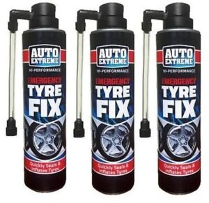 3 x 300ml Quick Fix Tyre Repair Foam For Car Bike Cycle Seals Tyres