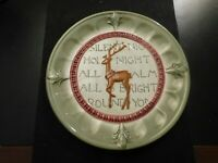 SILENT NIGHT HOLY NIGHT GREEN AND BROWN PLATE!  e928UXX