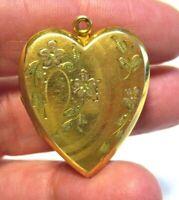 ANTIQUE GOLD FILLED HEART LOCKET FLORAL DESIGN 23 X 30 MM 6.3 GRAMS
