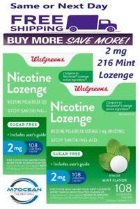 Pack of 2 Walgreens Nicotine Lozenge, 2 mg Mint 108 Ct Compared to Nicorette