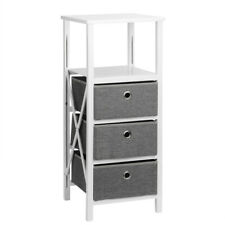 Durable End Table Nightstand Storage Organizer Tower Rack w/ 3 Removable Bins