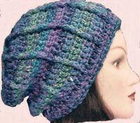 CROCHET SLOUCHY BEANIE HAT festival hippy baggy cowl scarf gloves set 8 mittens