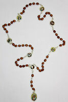 "Rosary Our Lady Of The Seven Sorrows Wood Beads Mater Dolorosa 19"" + Gift Card"