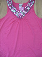 NEW GIRL'S CLOTHES M&Co CERISE PINK TOP WITH GEMS DANCE PARTY AGE 11-12 YEARS