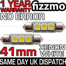 Número de matrícula interior 2x 41mm 6000k Blanco Brillante 3 SMD LED Festoon Bombilla C5W 264