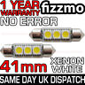 2x 41mm NUMBER PLATE INTERIOR 6000k BRIGHT WHITE 3 SMD LED C5W 264 FESTOON BULB