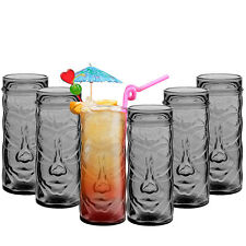6 x TIKI Cocktail Drinking Glasses Hawaiian Themed Drinks Mugs for Parties / Bar