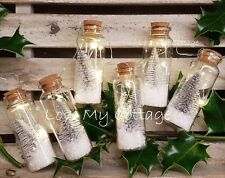 LIGHT UP Christmas TREE Decoration Garland WHITE Snow Filled Mini Glass Bottle