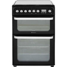Hotpoint Ultima HUD61KS Dual Fuel Cooker - Black 60cm with lid