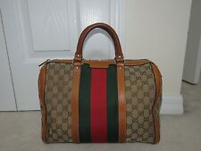 GUCCI VINTAGE MONOGRAM WEB MEDIUM BOSTON BAG SATCHEL PURSE TAN AUTHENTICATED