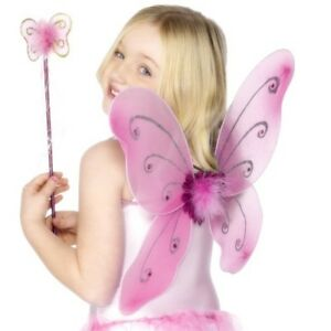 Childs Fancy Dress Girls Butterfly Wings & Wand Set Pink by Smiffys New