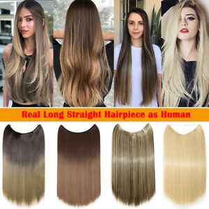 """100% Natural Wire in Hair Extensions Invisible Head Band Straight One Piece 20"""""""