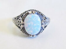Oval Opal Sterling Silver Filigree Ring Sz 9 Antique Vintage Art Deco Style