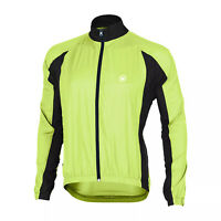 New Canari Mens Wind / Water Resistant Full-Zip Flash Cycling Jacket Neon Yellow