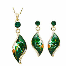 Green Enamel Leaf 14K Gold Plated Chain Necklace Pendant Earrings Jewellery Set