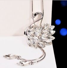 Stylish Rhinestone Swan Pendant with sliver long chain necklace