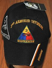 New Black 3rd Third Armored Division US Army Hat Ball Cap Spearhead Licensed