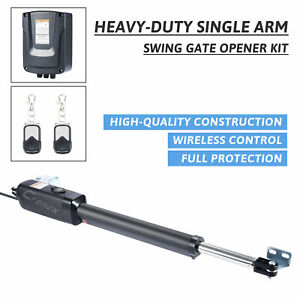 Swing Gate Opener with Remote Control Complete Kit Single Arm Opener  Electric