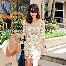 Women Summer Lace Crochet Bikini Cover Up Beach Dress Swimwear Trendy^Free Size@