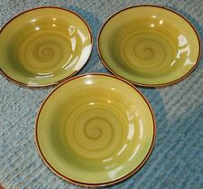 "THREE Thomson Pottery 9"" Rim Soup Bowls ""Amazon"" Green Swirl w/ Brown Accents"